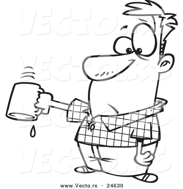 Vector of a Cartoon Businessman Turning out His Last Drop of Coffee - Outlined Coloring Page