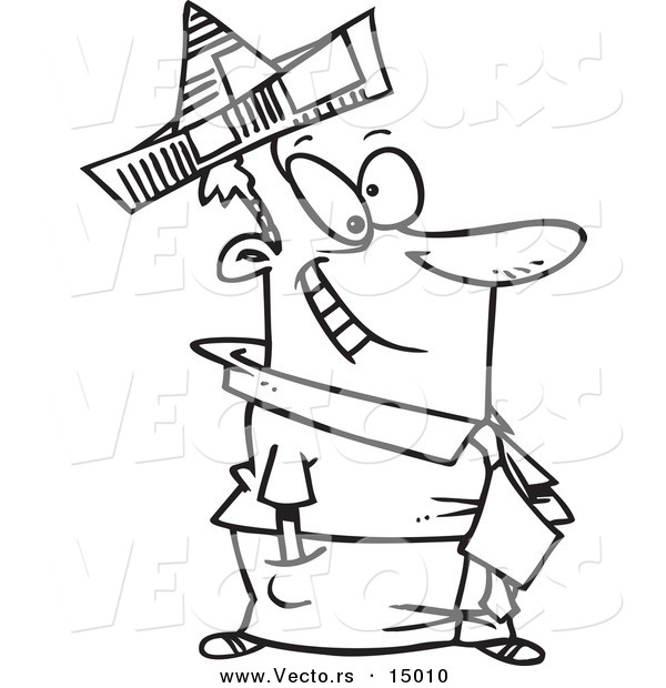 vector of a cartoon businessman wearing a newspaper hat coloring page outline by toonaday 15010. Black Bedroom Furniture Sets. Home Design Ideas