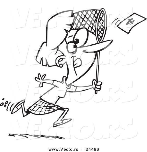 Vector of a Cartoon Businesswoman Chasing Money with a Net - Outlined Coloring Page
