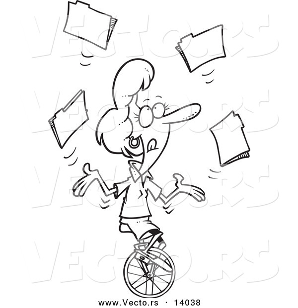 Line Art Unicycle : Vector of a cartoon businesswoman juggling file folders on