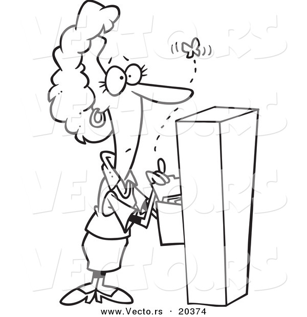 Vector of a Cartoon Businesswoman Watching a Moth Emerge from a Filing Cabinet - Coloring Page Outline