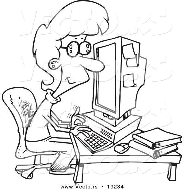 Vector Of A Cartoon Businesswoman Working On Computer