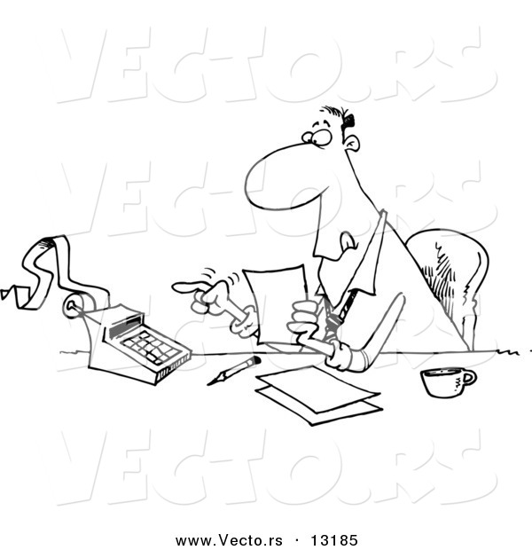 Vector of a Cartoon Busy Accountant Using a Calculator at His Desk - Coloring Page Outline
