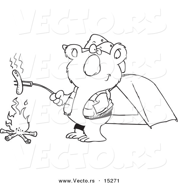 Vector of a Cartoon Camping Koala Roasting a Hot Dog over a Fire - Coloring Page Outline