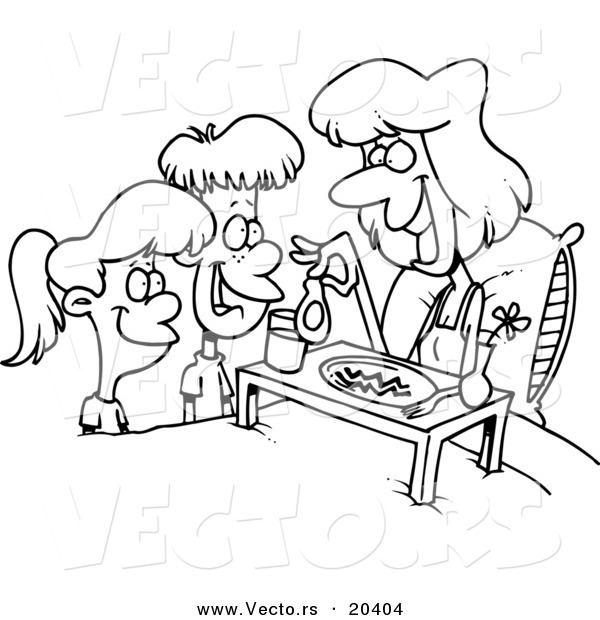 Vector of a Cartoon Cartoon Black and White Outline Design of Children Serving Their Mom Breakfast in Bed - Coloring Page Outline