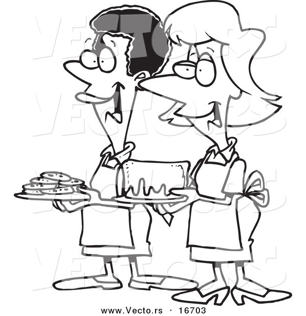 Vector of a Cartoon Cartoon Black and White Outline Design of Friendly Ladies at a Bake Sale - Outlined Coloring Page Drawing