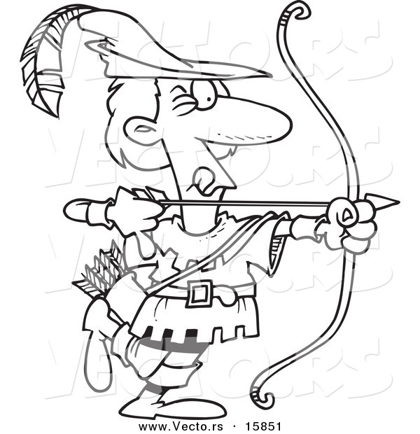 Vector of a Cartoon Cartoon Black and White Outline Design of Robin Hood Aiming - Outlined Coloring Page Drawing