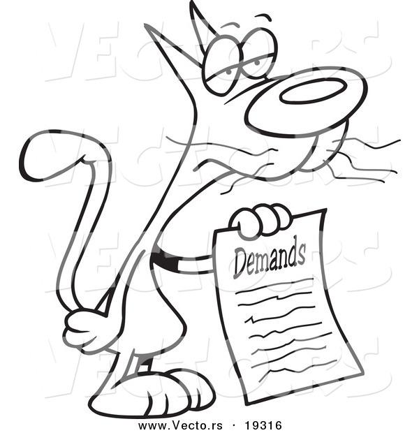 Vector Of A Cartoon Cat With A List Of Demands