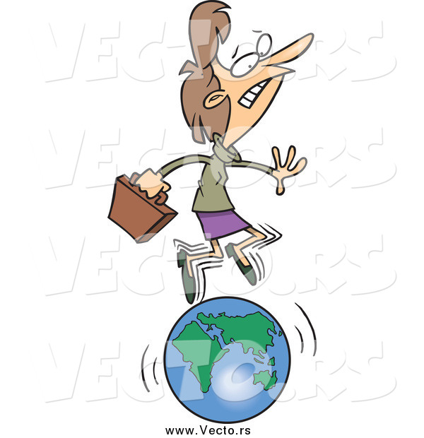 Vector of a Cartoon Caucasian Businesswoman Running on a Globe
