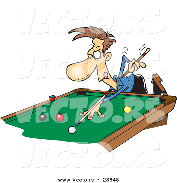Vector of a Cartoon Caucasian Man Leaning over a Billiards Table