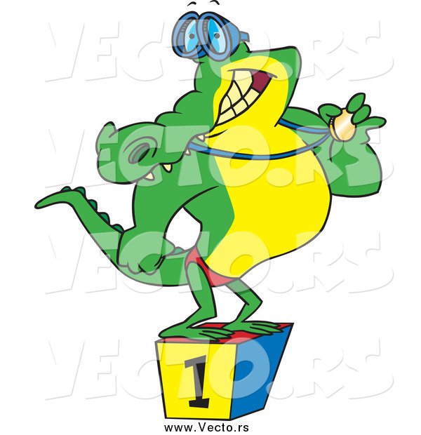 Vector of a Cartoon Champion Alligator Swimmer Standing on a Podium and Showing off His Medal