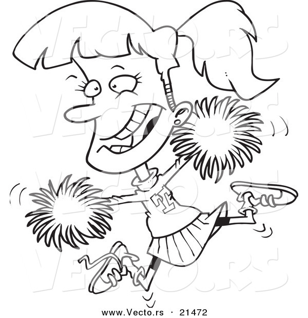 Vector of a Cartoon Cheerleader Girl - Outlined Coloring Page