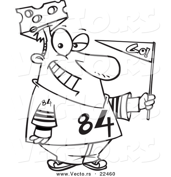 Vector of a Cartoon Cheese Head Sports Fan - Coloring Page Outline