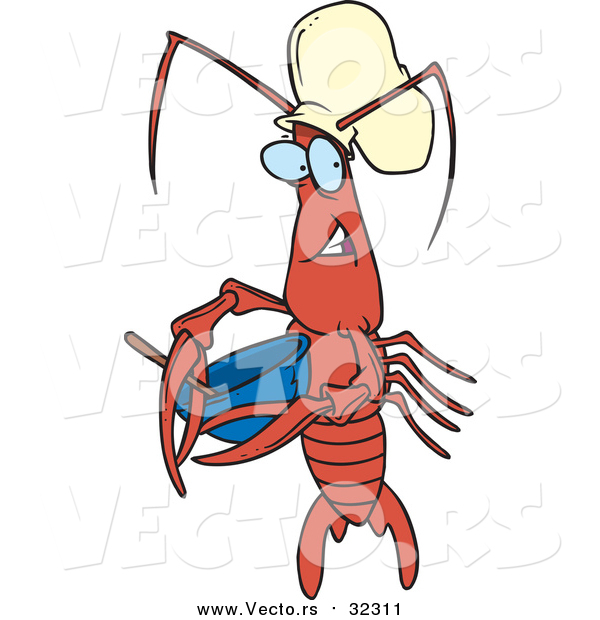 Vector of a Cartoon Chef Crawdad Holding a Mixing Bowl