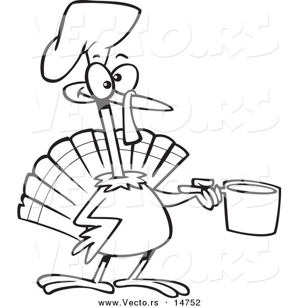 Vector of a Cartoon Chef Turkey Bird Holding a Pot - Coloring Page Outline