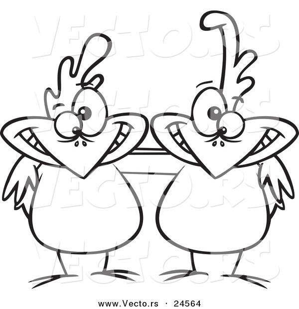 Vector of a Cartoon Chicken Buddies - Outlined Coloring Page