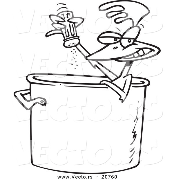 Vector of a Cartoon Chicken Seasoning Himself in a Soup Pot - Coloring Page Outline