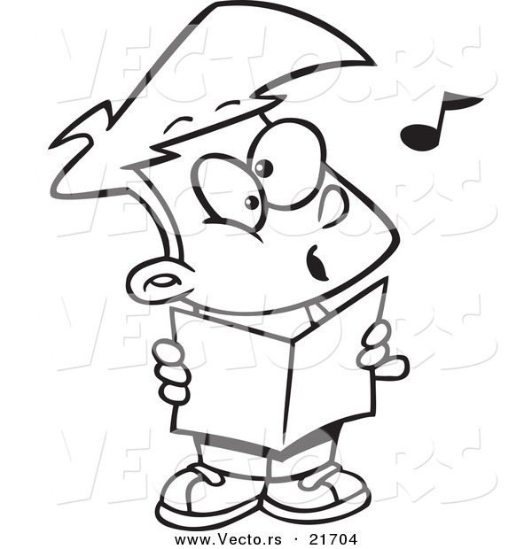 Vector of a Cartoon Choir Boy Singing - Outlined Coloring Page