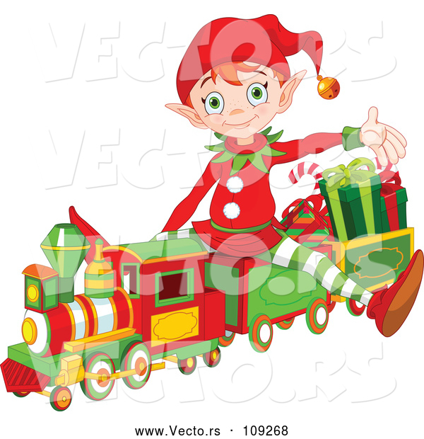 : Vector of a Cartoon Christmas Elf Presenting and Sitting on a Toy Train