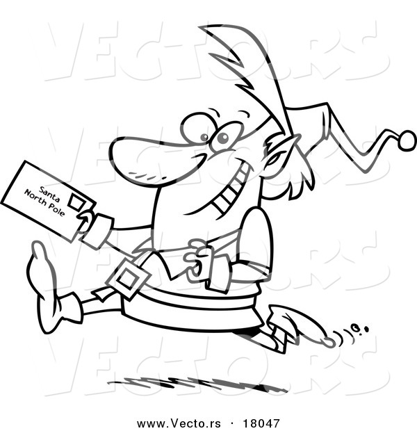 Vector of a Cartoon Christmas Elf Running with a Letter for Santa - Outlined Coloring Page