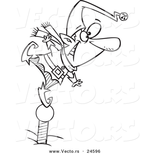 Vector of a Cartoon Christmas Elf Standing on a Pole and Keeping a Look out - Outlined Coloring Page