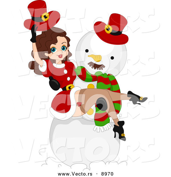 Vector of a Cartoon Christmas Pin-Up Girl in a Snowman's Arms
