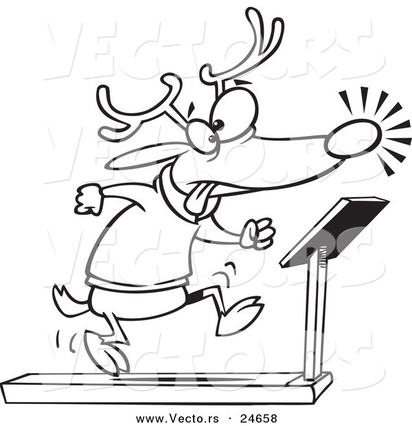 Vector of a Cartoon Christmas Reindeer Running on a Treadmill - Outlined Coloring Page