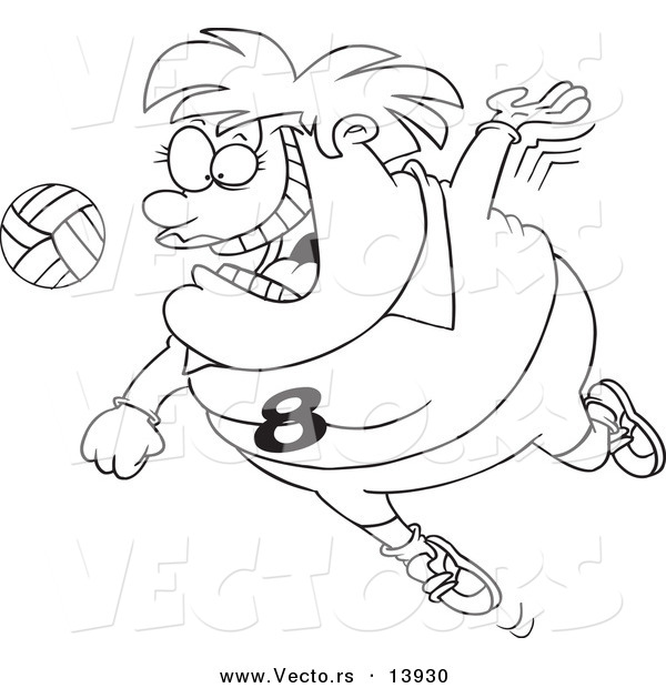 Vector of a Cartoon Chubby Female Volleyball Player Jumping to Hit the Ball - Coloring Page Outline