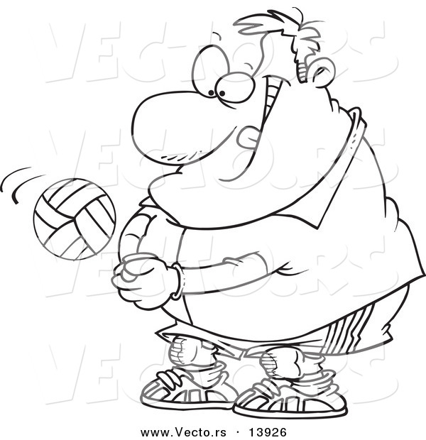 Vector of a Cartoon Chubby Male Volleyball Player Hitting a Ball - Coloring Page Outline