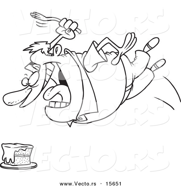 Vector of a Cartoon Chubby Man Diving for Cake - Coloring Page Outline