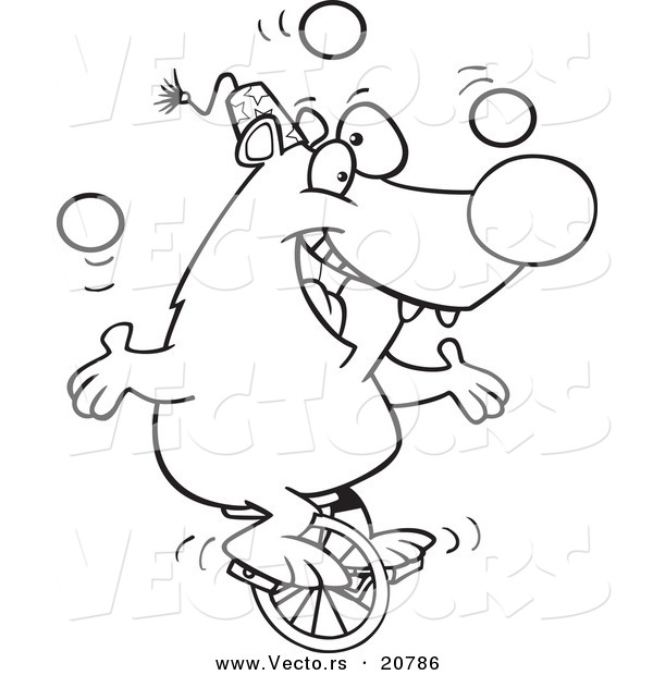 Vector of a Cartoon Circus Bear Juggling on a Unicycle - Coloring Page Outline