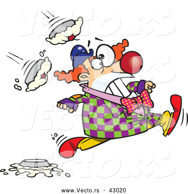 Vector of a Cartoon Clown Running from Pies Being Thrown at Him
