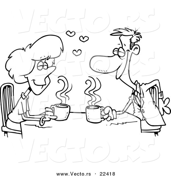 Vector of a Cartoon Coffee Lovers on a Date - Coloring Page Outline
