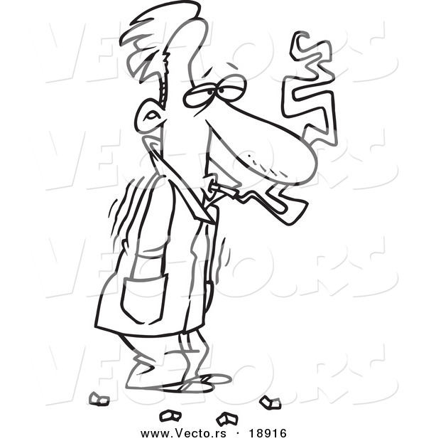 Vector of a Cartoon Cold Man Shivering in His Jacket and Smoking - Outlined Coloring Page