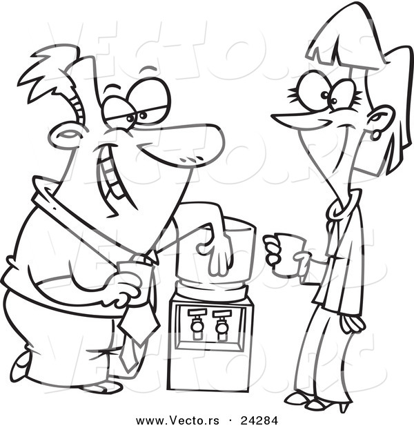 Vector of a Cartoon Colleagues Flirting at the Water Cooler - Outlined Coloring Page