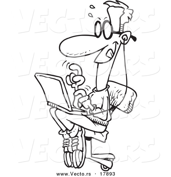 Vector of a Cartoon College Boy Using a Laptop - Outlined Coloring Page