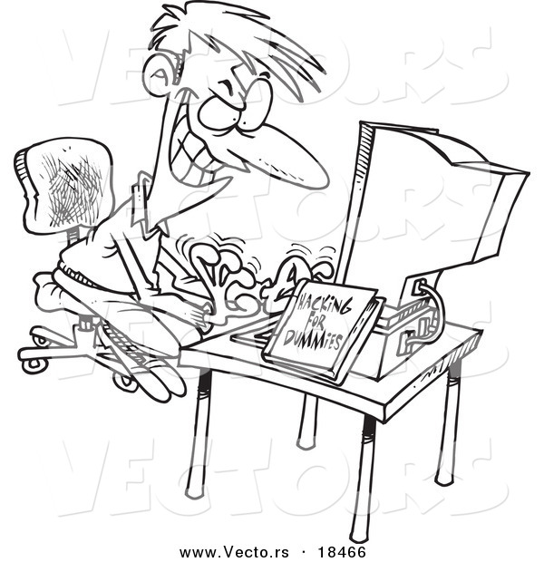 Computer Hacking Man Outlined Coloring Page By Ron Leishman 18466
