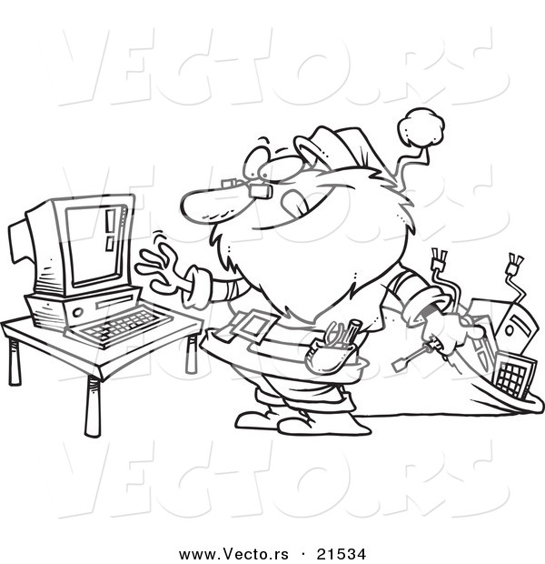 Vector of a Cartoon Computer Repair Santa - Outlined Coloring Page