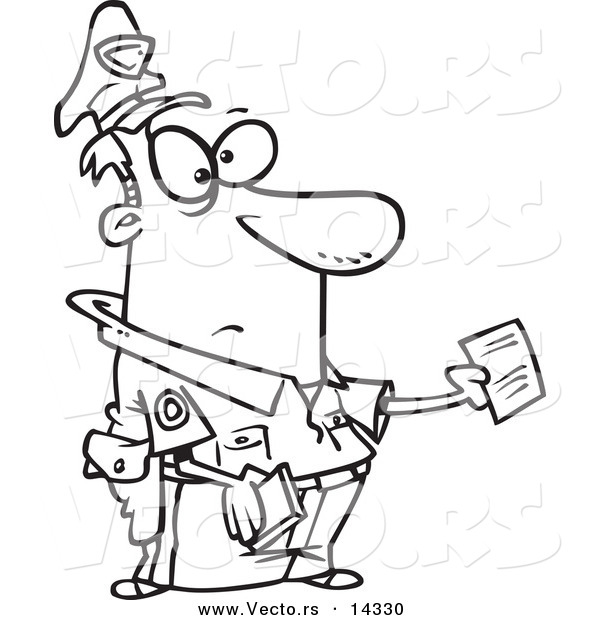 Vector of a Cartoon Cop Issuing a Ticket - Coloring Page Outline