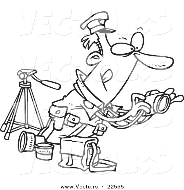 Vector of a Cartoon Cop Taking Photos - Coloring Page Outline