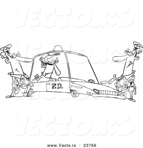 Vector of a Cartoon Cops with a Robber in a Squad Car - Coloring Page Outline