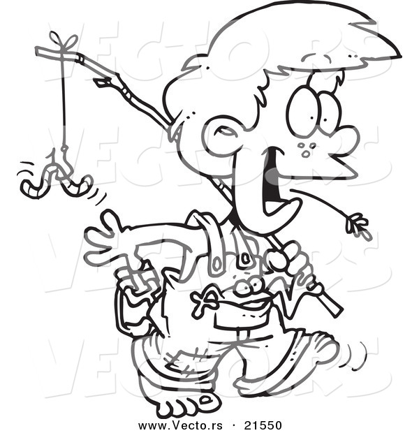 Vector of a Cartoon Country Boy Carrying a Fishing Pole - Outlined Coloring Page