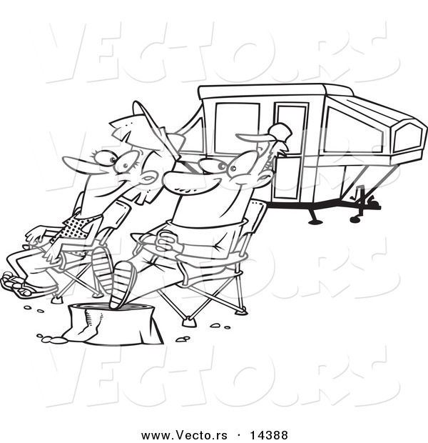 Vector of a Cartoon Couple Relaxing at a Campsite near Their Tent Trailer - Coloring Page Outline