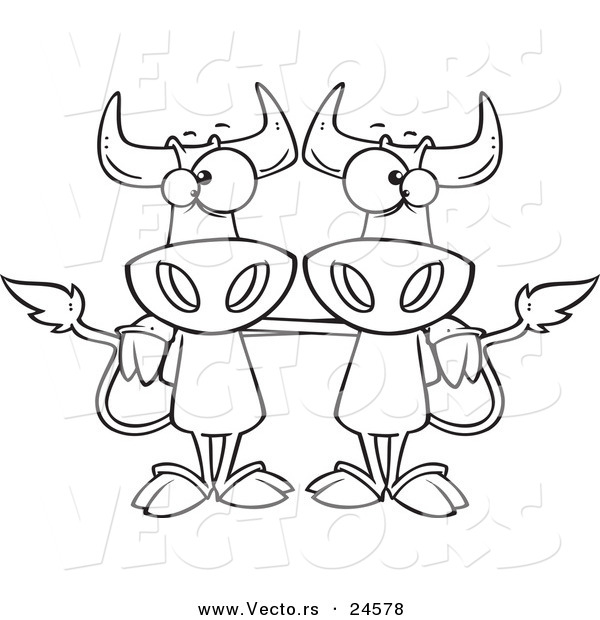 : Vector of a Cartoon Cow Buddies - Outlined Coloring Page