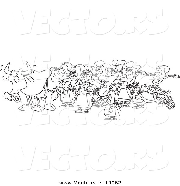 Vector of a Cartoon Cow with Eight Milking Maids - Outlined Coloring Page