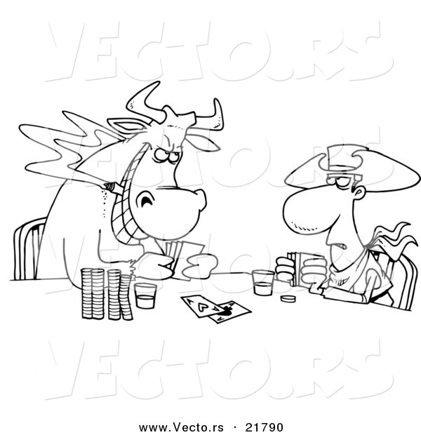 Vector of a Cartoon Cowboy and Bull Playing Poker - Outlined Coloring Page