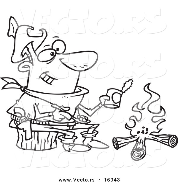 Vector of a Cartoon Cowboy Baking Beans over a Camp Fire - Coloring Page Outline