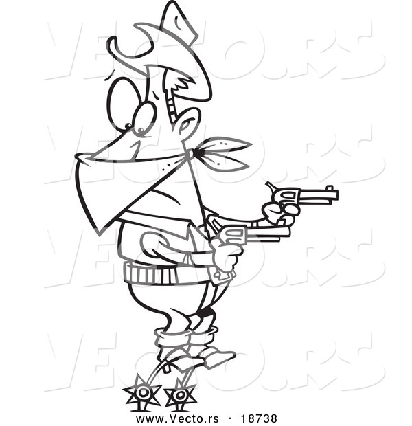Vector of a Cartoon Cowboy Balanced on His Spurs During a Hold up - Outlined Coloring Page