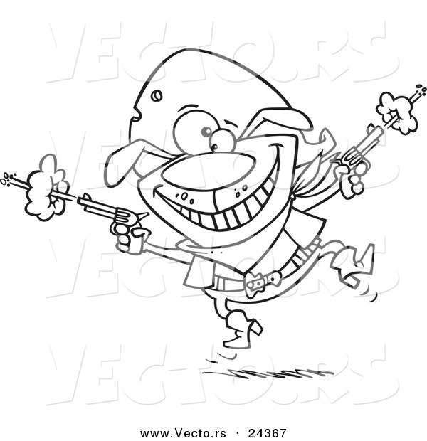 Vector of a Cartoon Cowboy Dog Shooting - Outlined Coloring Page