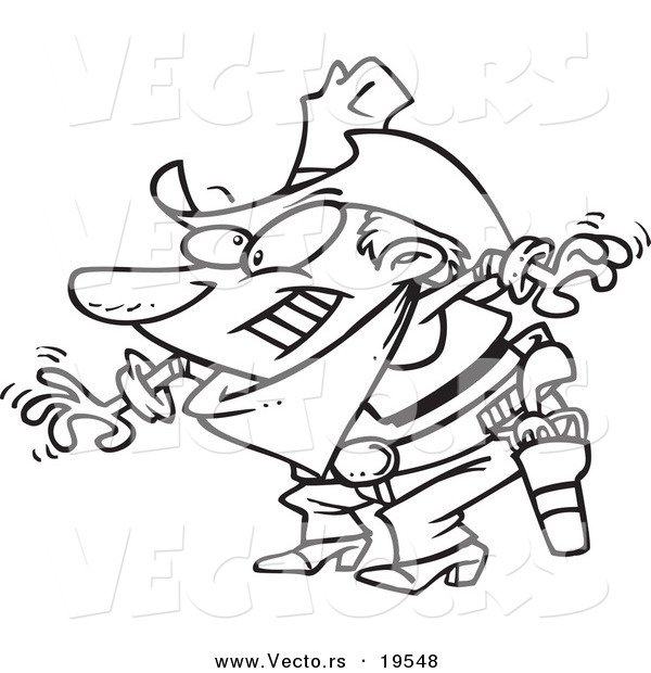 Vector of a Cartoon Cowboy Drawing His Guns - Outlined Coloring Page